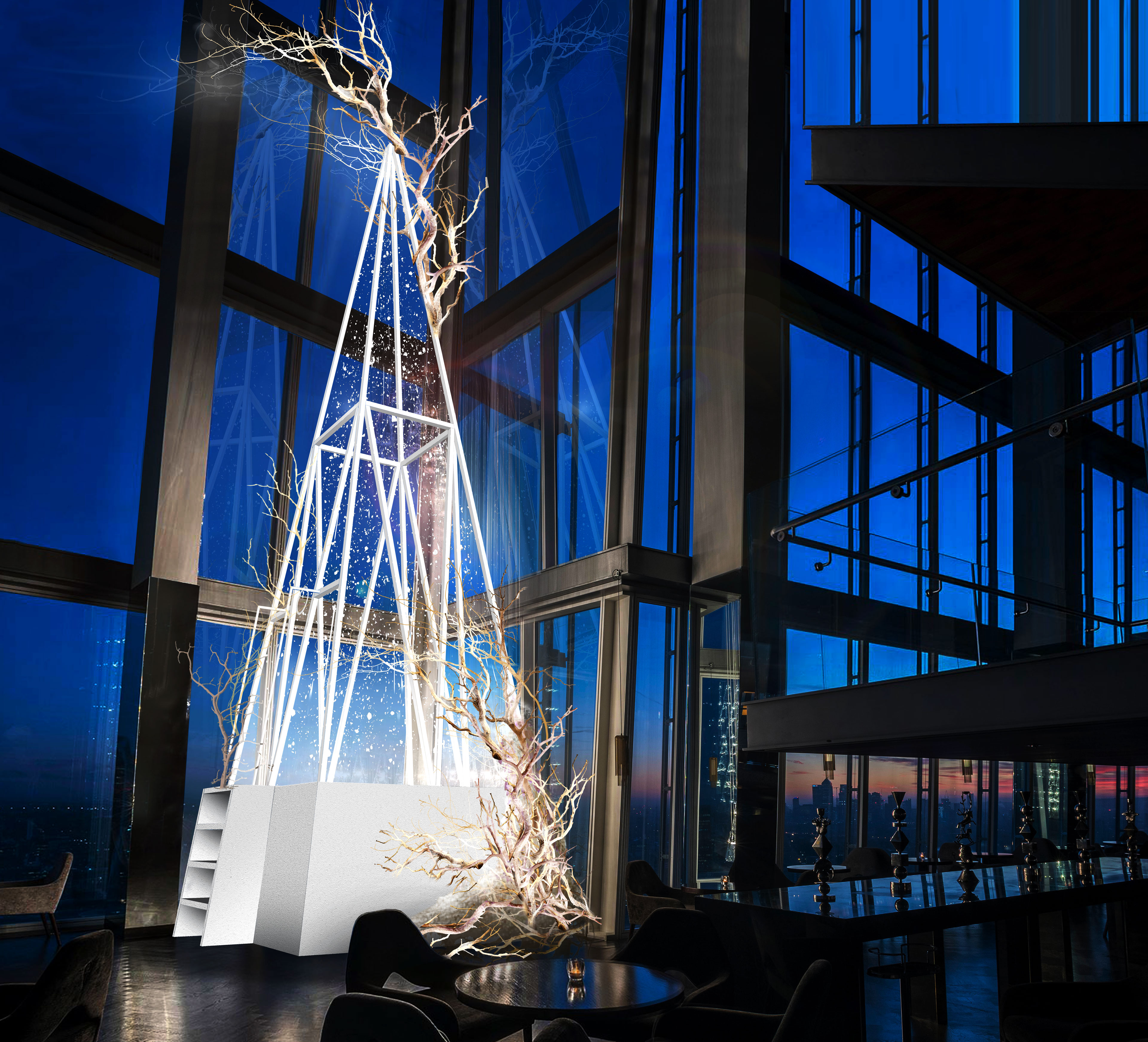 3 Must-See London Christmas Trees: Snowscape at aqua shard