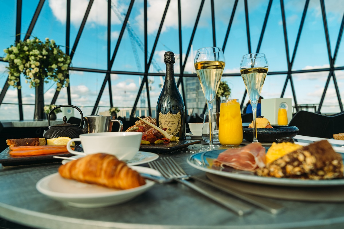Diamond Brunch at Searcys at the Gherkin where one Glass of Champagne this Sunday will Contain a Real Diamond worth £1000 (Photo Credit: Jason Purple)