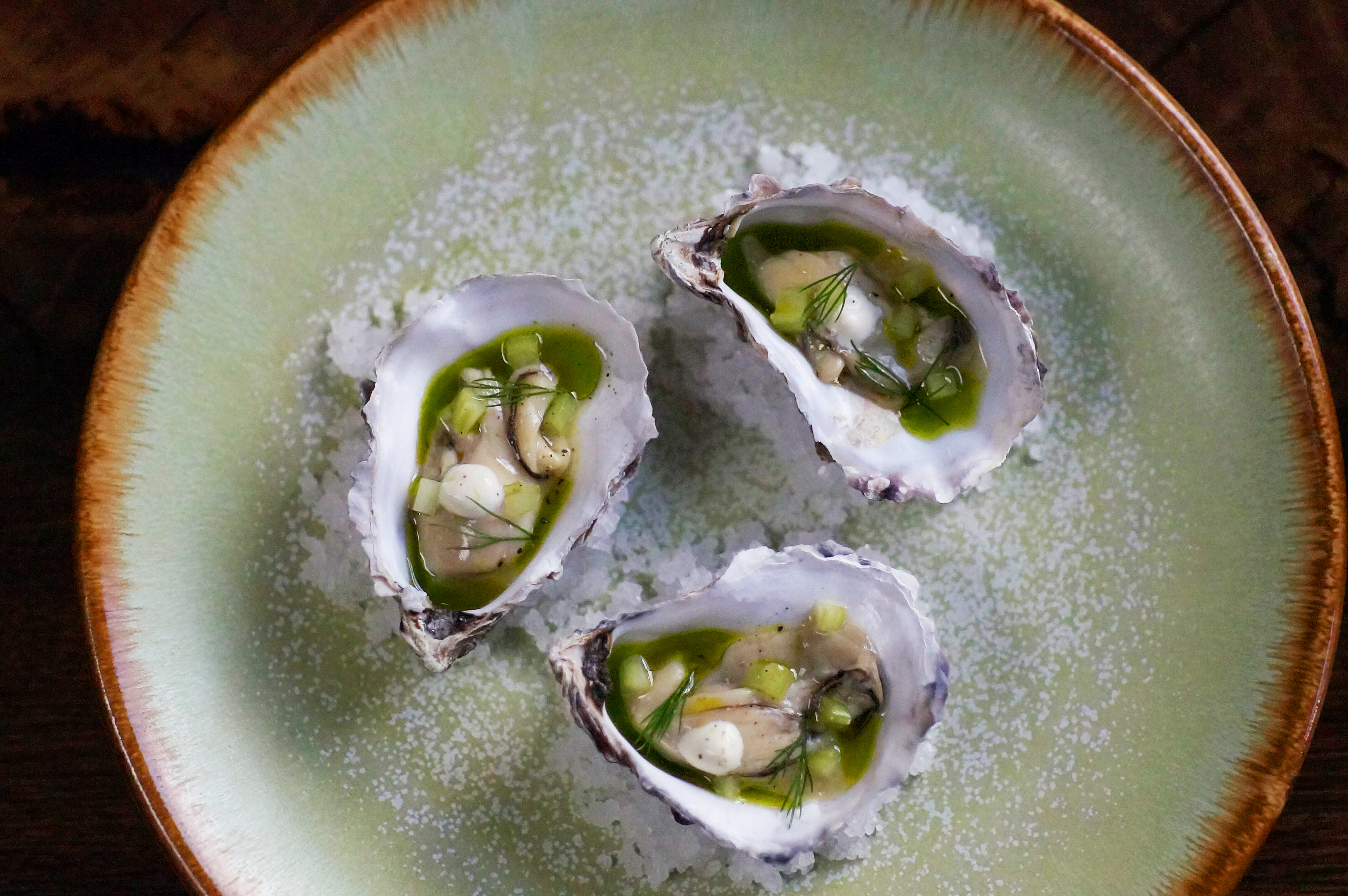 4 Celebrity Chef London Restaurants You Must Try Now - Tom Brown's Cornerstone in Hackney Wick: Pickled Oysters with Celery, Horseradish & Dill