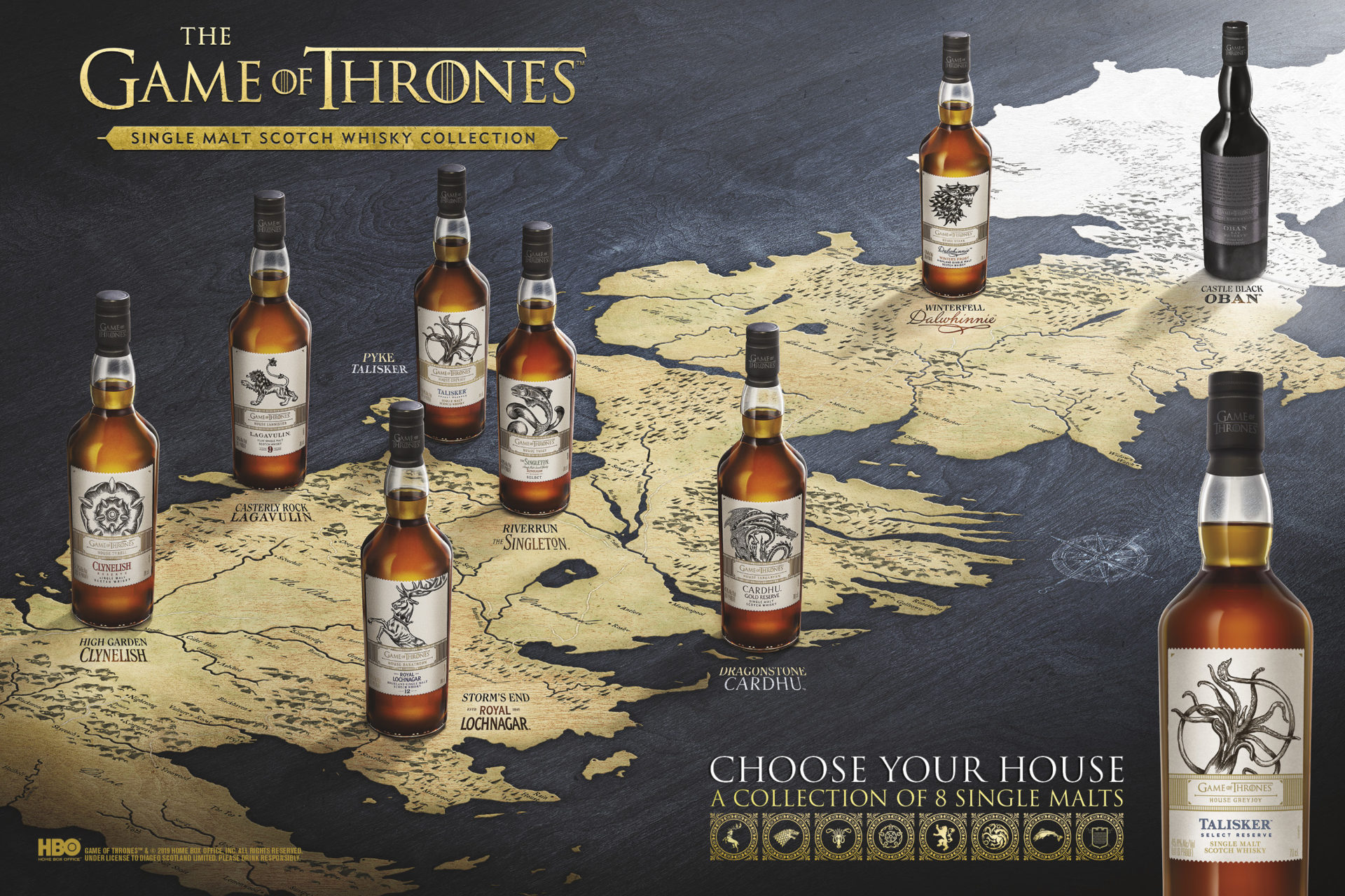 The best present you could ever buy a Game of Thrones Whisky Fan: Single Malt Scotch Whisky Collection - Westeros Map