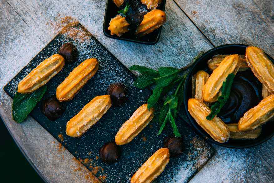 Summer Vibes & Boozy Bottomless Brunch at The Courtyard Fulham: Churros with Chocolate Dipping Sauce (Photo Credit: Tom Leishman)