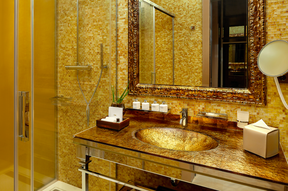 A Glamorous Getaway at The Alàbriga Hotel & Home Suites, Costa Brava: Gold Basins in the Deluxe Bathroom Suite