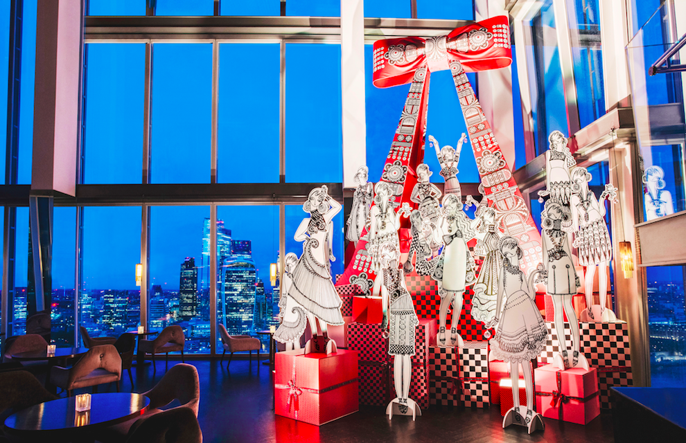 The Luxe List of Christmas Pop-Ups & Terraces 2019 - Holly Fulton Christmas Tree at aqua shard