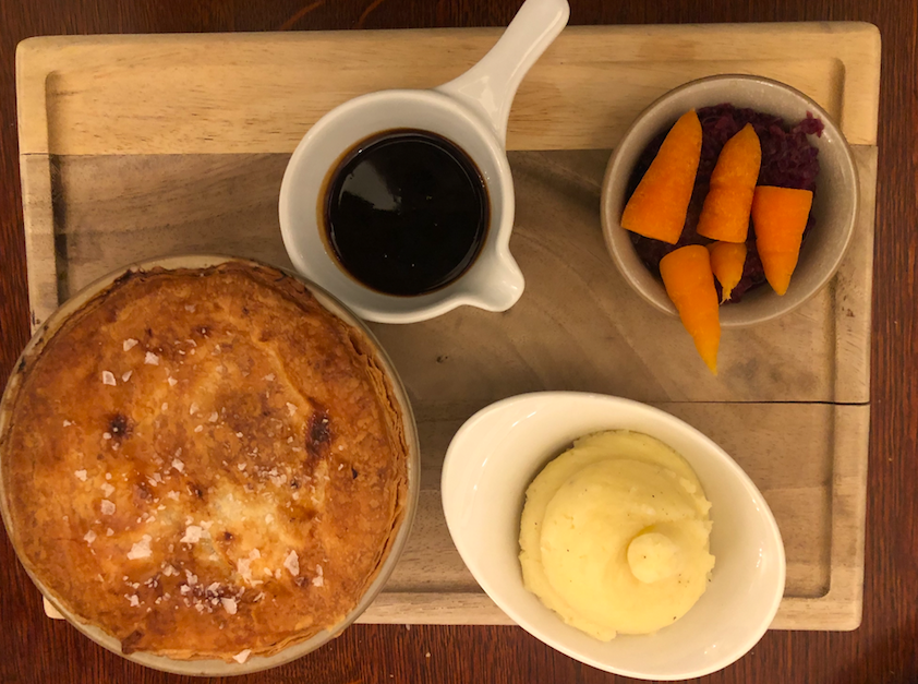 A Medieval, Majestic Moat House - New Hall Hotel & Spa: Pork and Cider Pie at the 2 AA Rosette The Bridge Restaurant