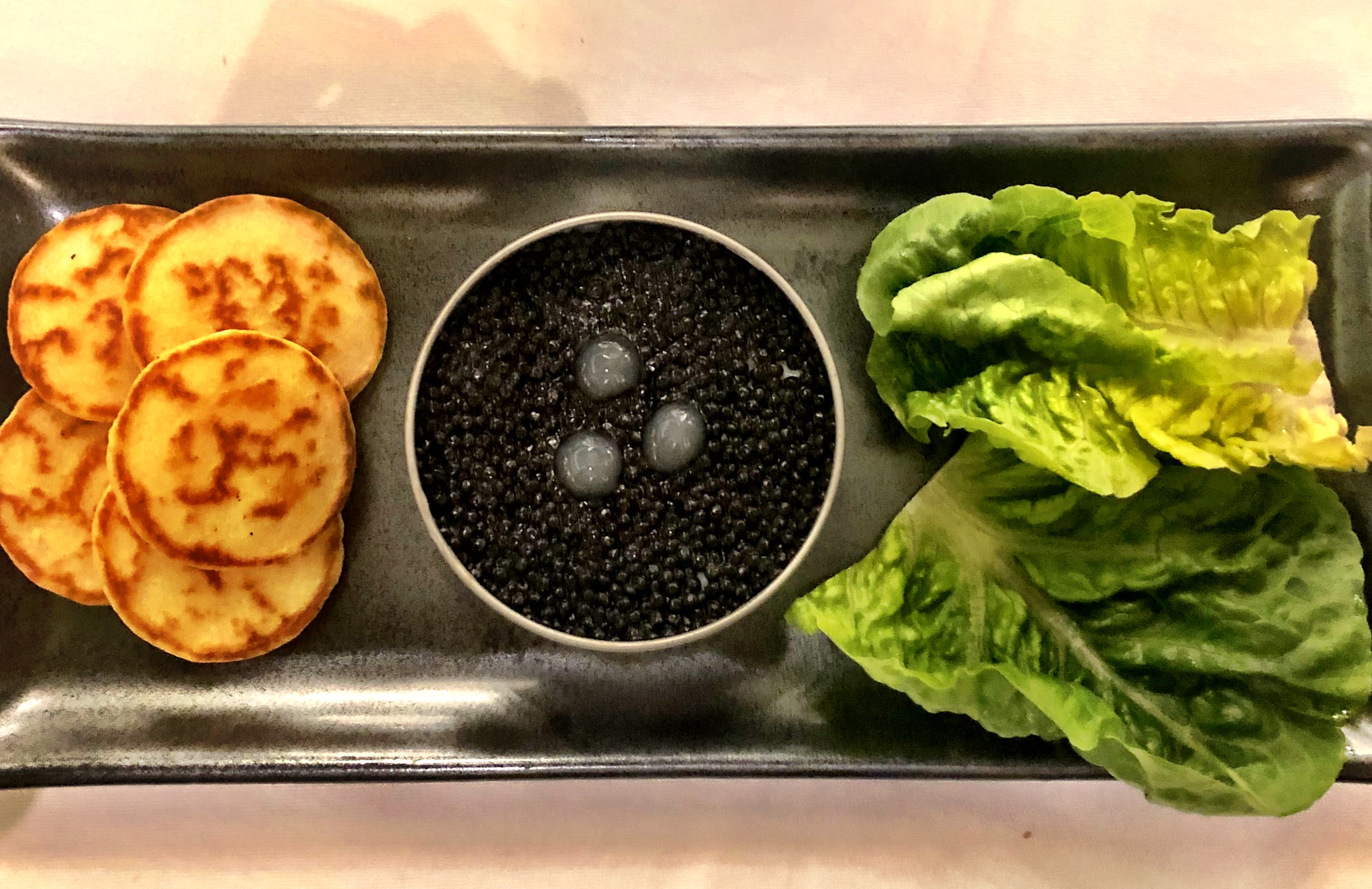 Seafood Heaven at Kaspar's at the Savoy: Cornish Crab Starter with Avruga Caviar and Blinis