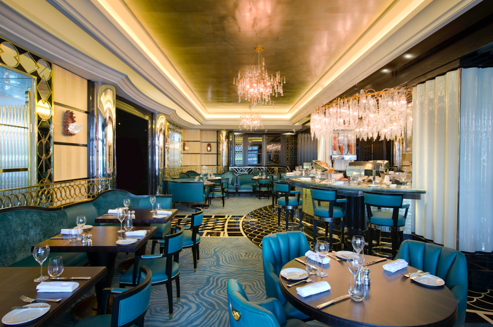 Seafood Heaven at Kaspar's at the Savoy: Interior with elegant art-deco dining room with high lacquered marble flooring and a central circular oyster bar