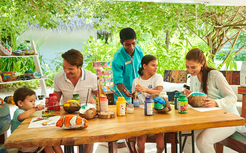 Post Lockdown - Luxurious Learning Experiences in Paradise: Get Creative in Paradise at Fairmont Maldives Sirru Fen Fushi - Family Coconut Painting