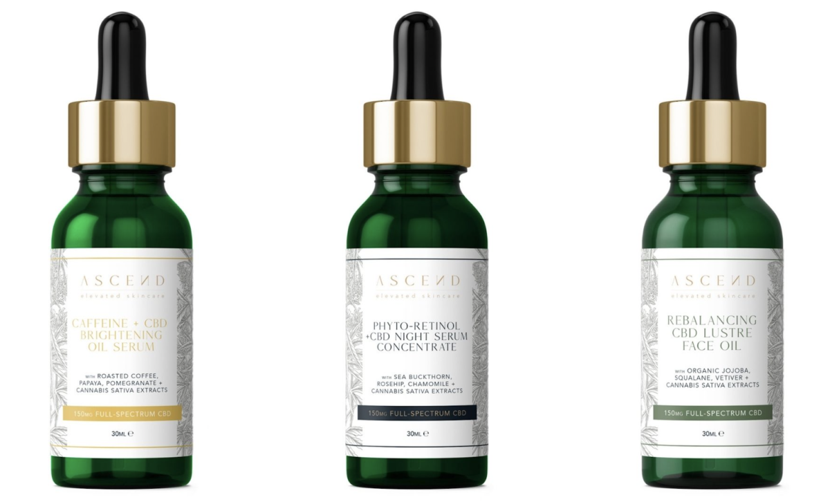 The ASCEND skincare range from mellow are CBD based known for their anti-inflammatory properties