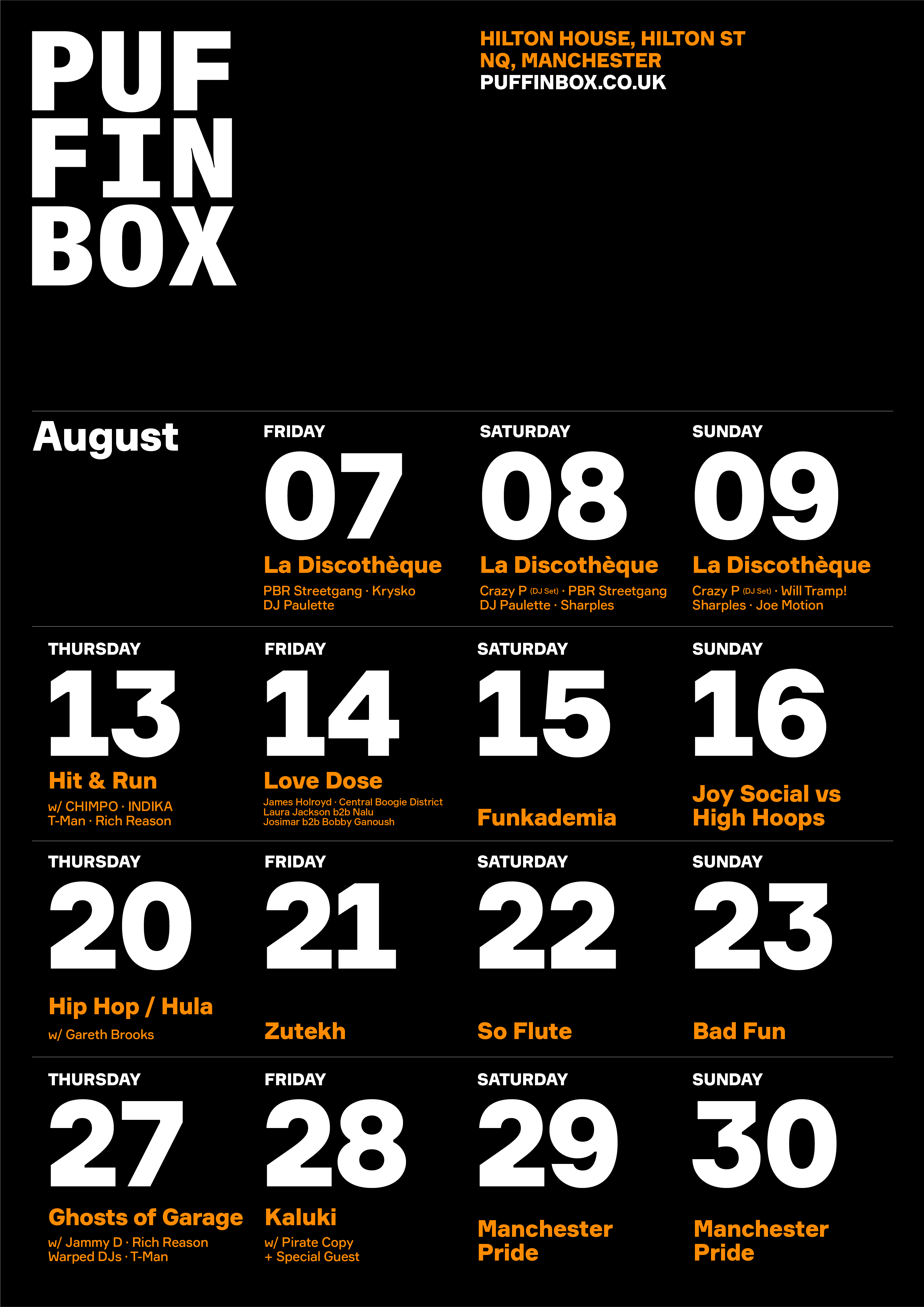 Socially Distanced Clubbing at Puffin Box, Manchester - The August Line Up