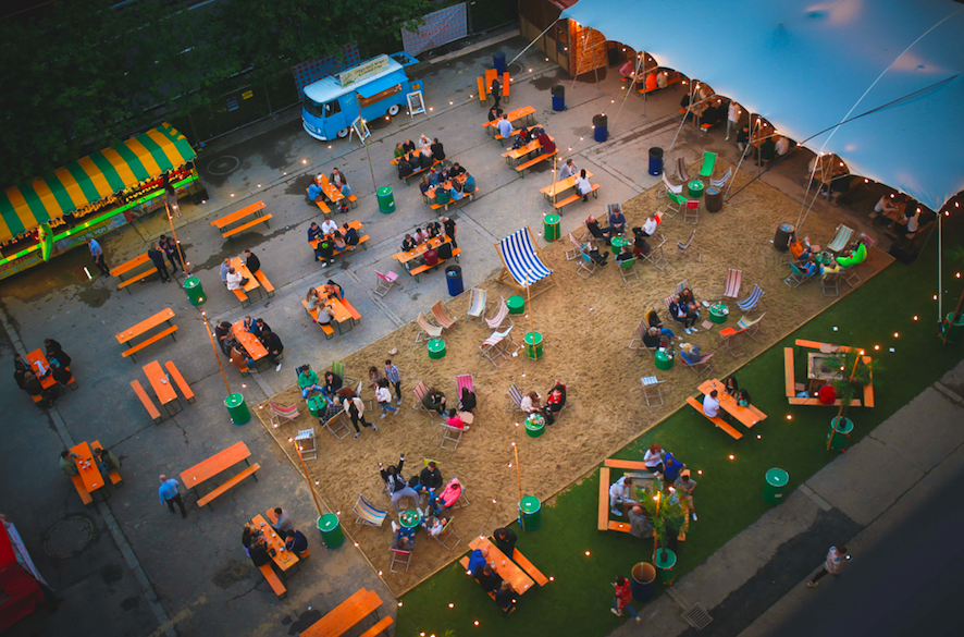 Beach Box Jesmond, aerial shot, well spaced tables