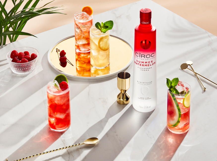 CIROC Summer Watermelon - August is Going to be Fruity! CIROC Summer Watermelon lifestyle shot with drinks on table