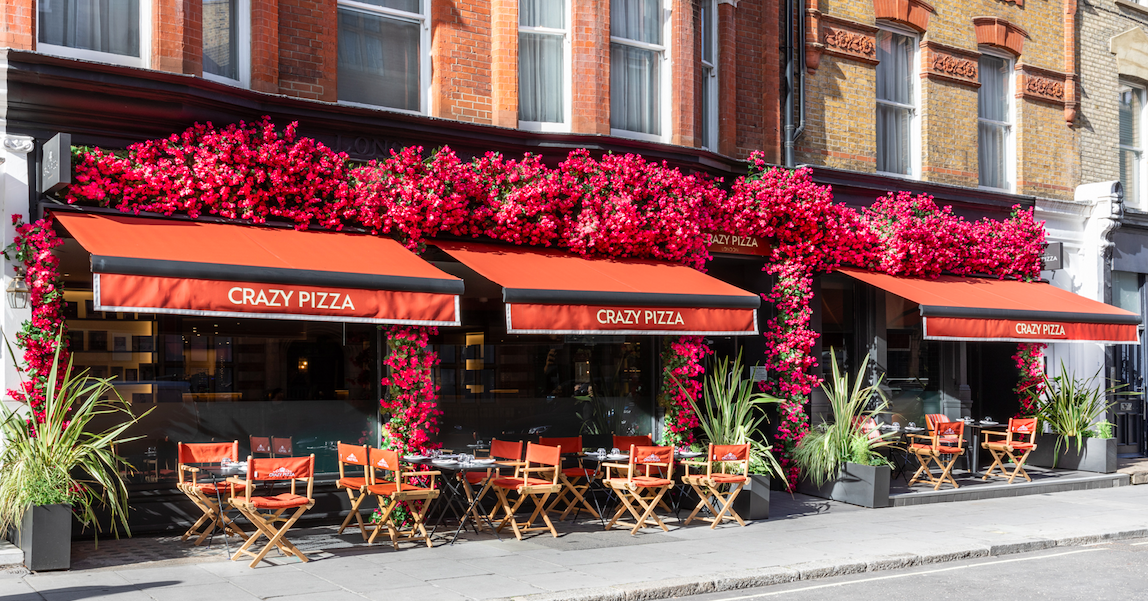The Luxe List August 2020 - Part Two: New Floral Installation Sun Trap at Crazy Pizza, Marylebone