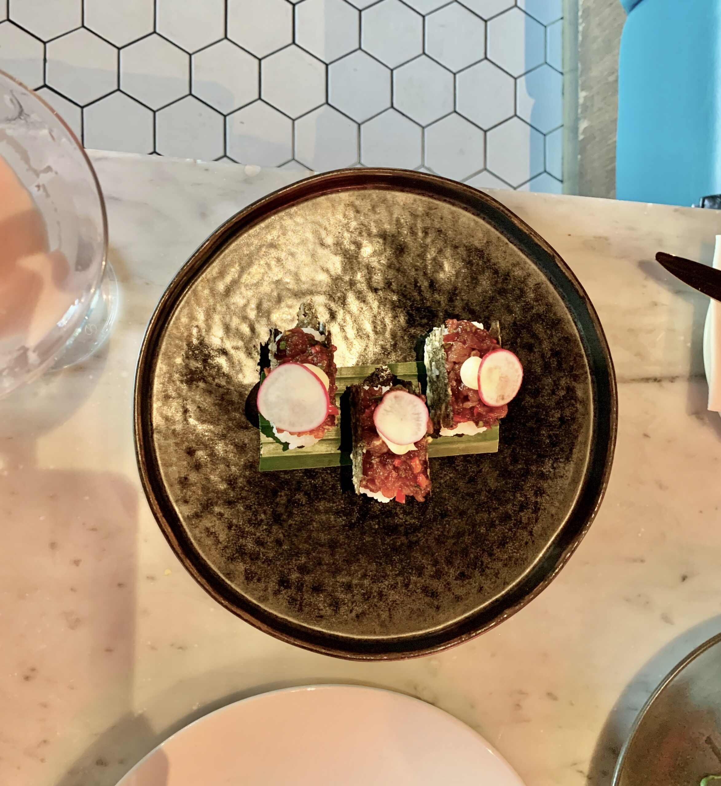 Menagerie Manchester - Tuna tacos presented beautifully and stuffed with sashimi grade tuna tartare (£8.50 for 3)