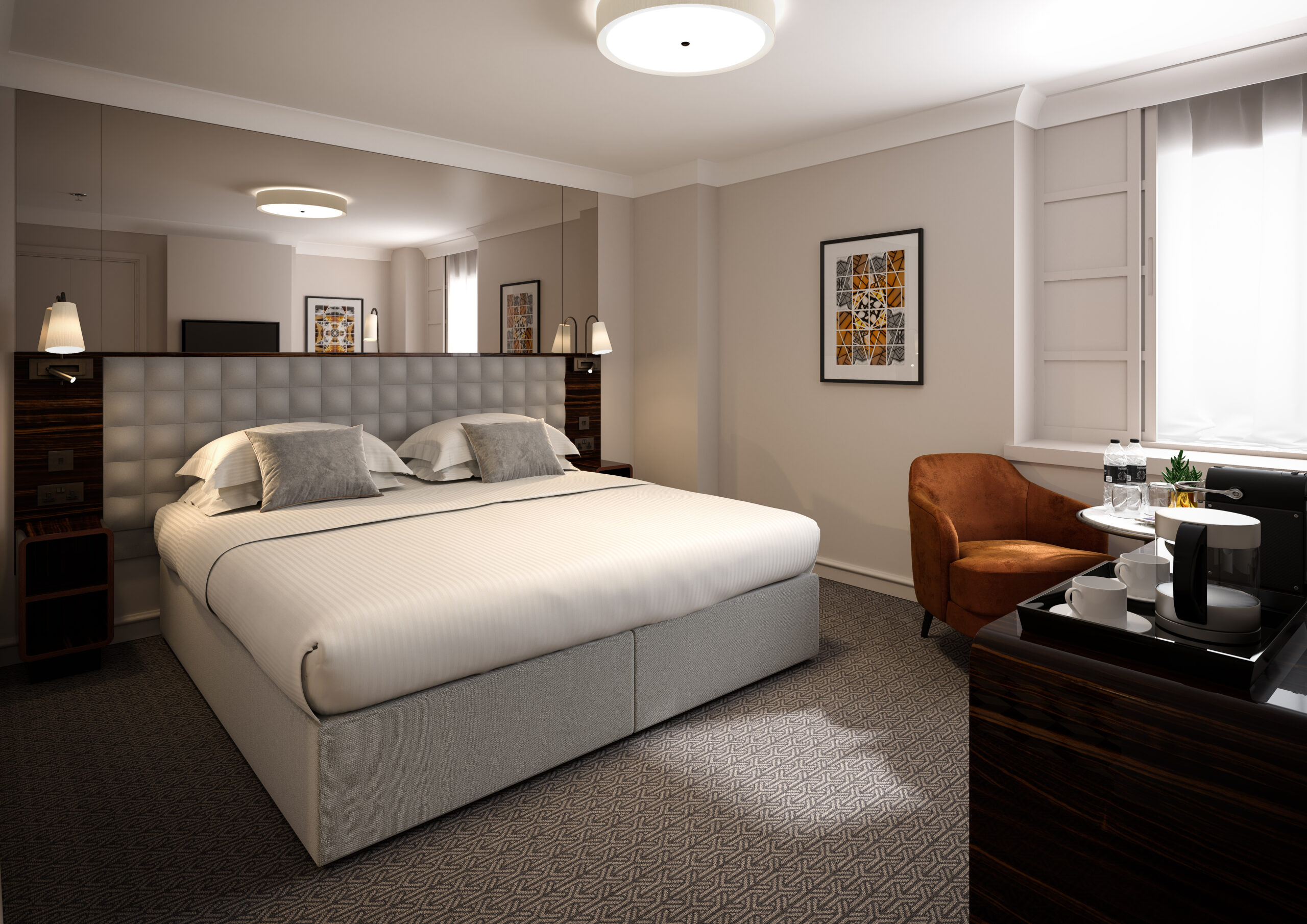 Deluxe king hotel rooms at Strand Palace are spacious with fast wifi, free mini bar and complimentary toiletries among the luxuries