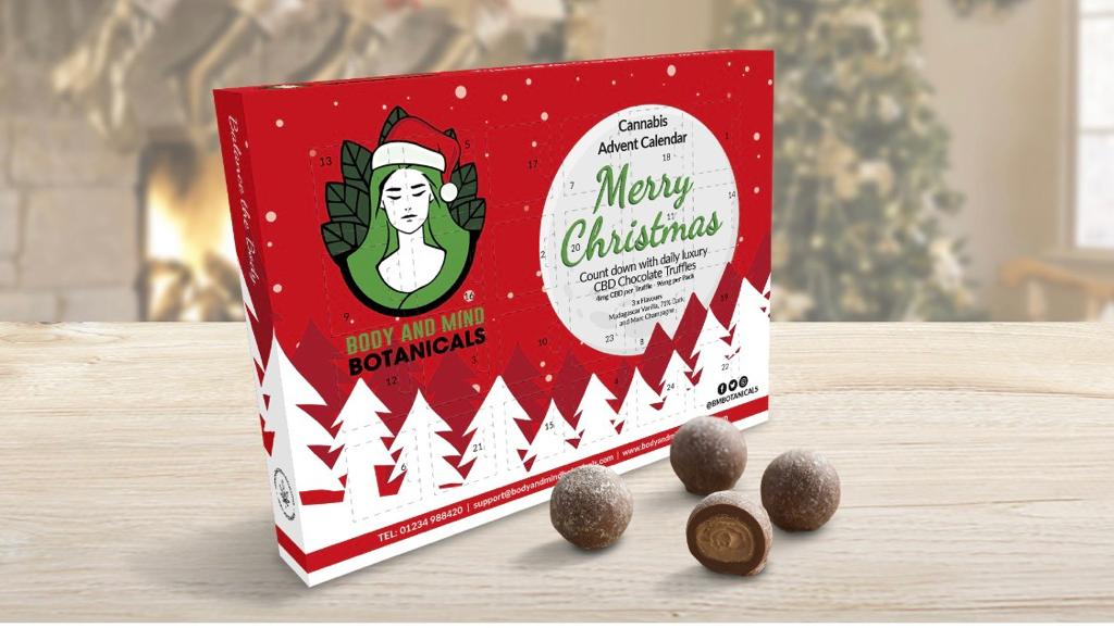 Body and Mind Botanicals first ever Cannabis Advent Calendar with each of its 24 truffles infused with CBD
