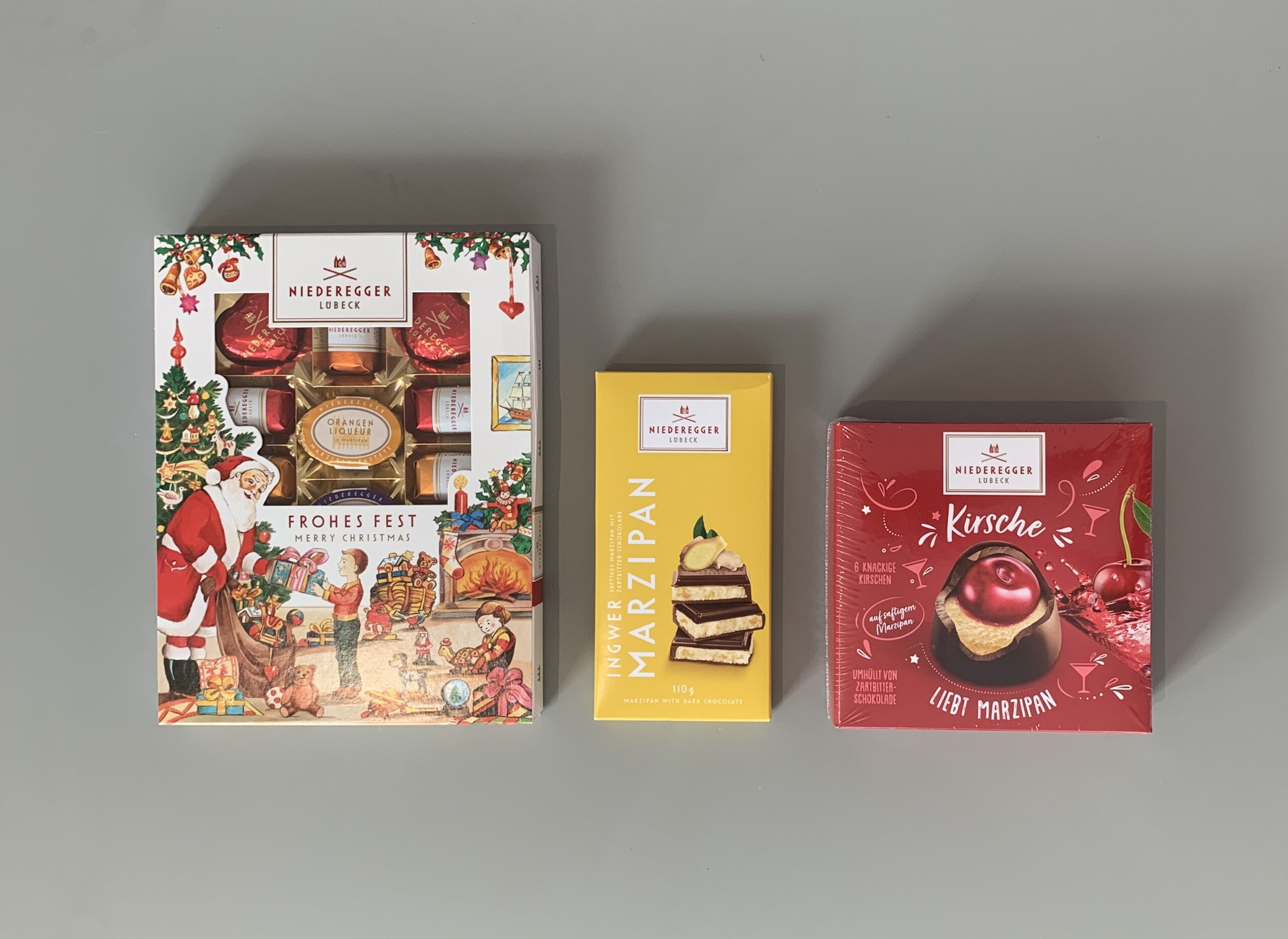 Niederegger Lübeck: Kirsche and Marzipan, Marzipan with Dark Chocolate and Merry Christmas Box
