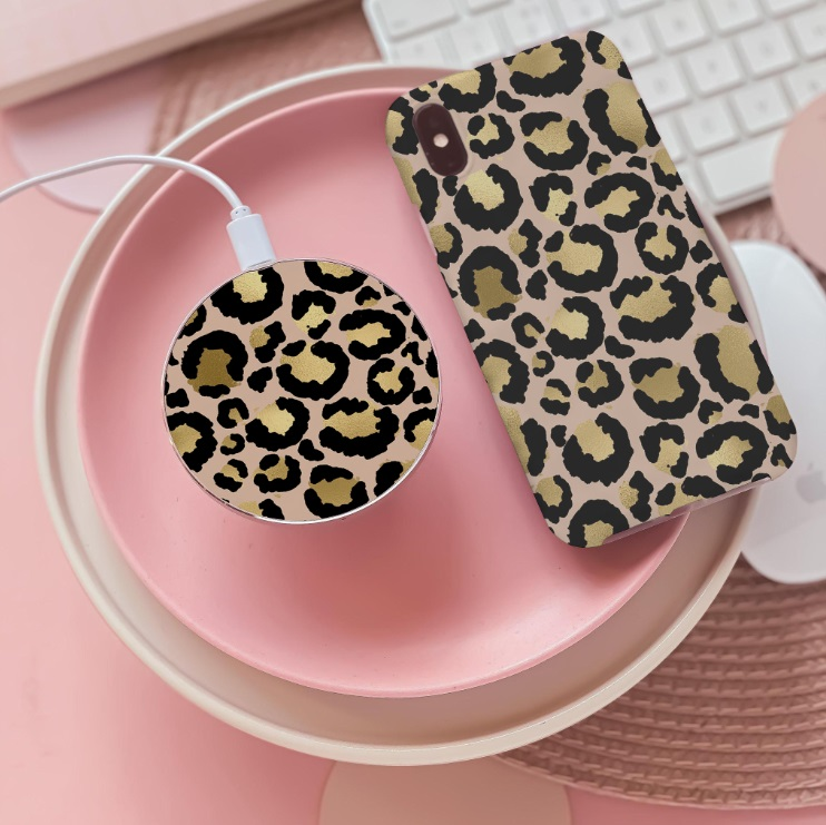 Top 5 Christmas Gifts from Coconut Lane - Gold Leopard Wireless Charger £26