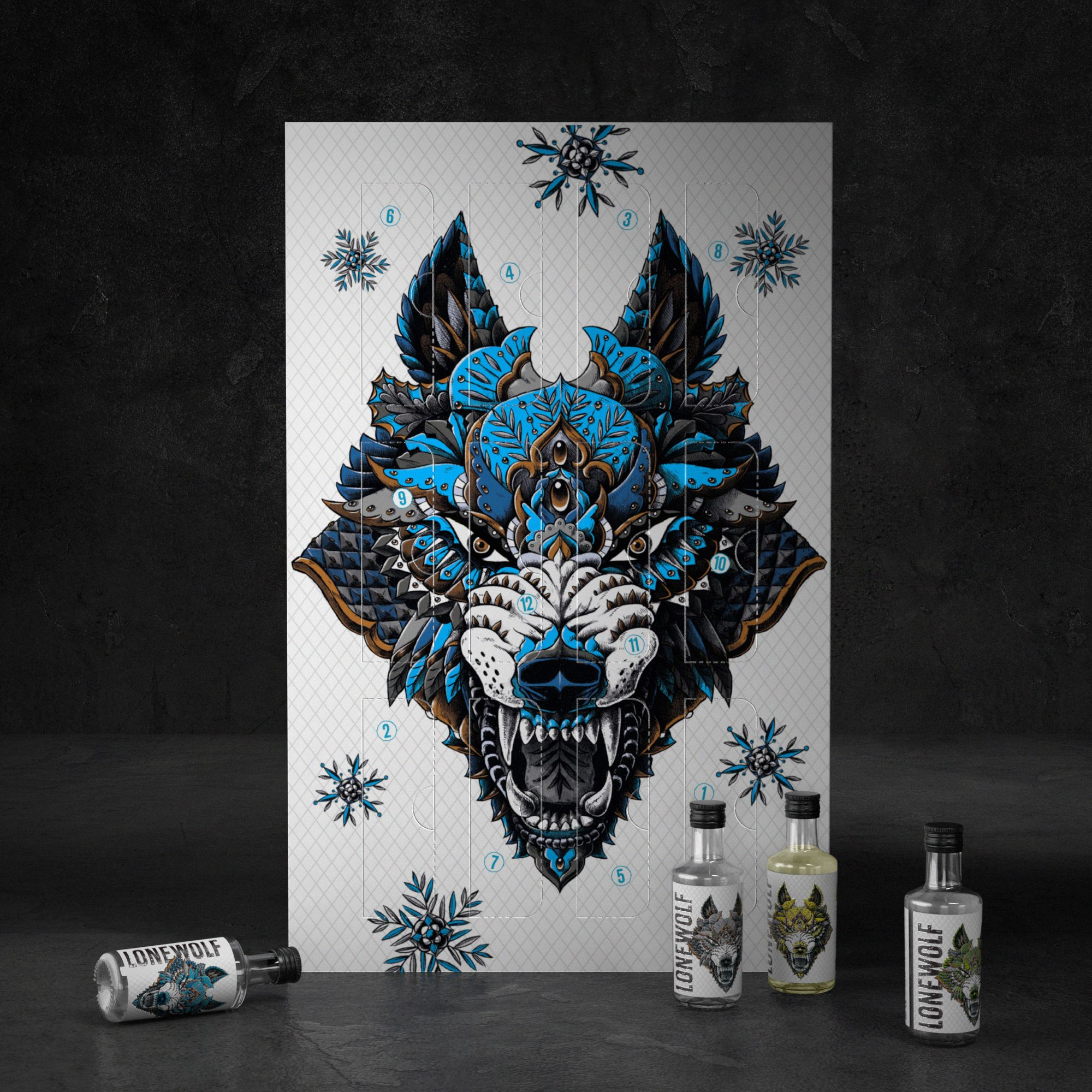 12 Lonewolf Gins of Christmas Calendar contains 12 x 50ml Bottles for a Very Merry December!