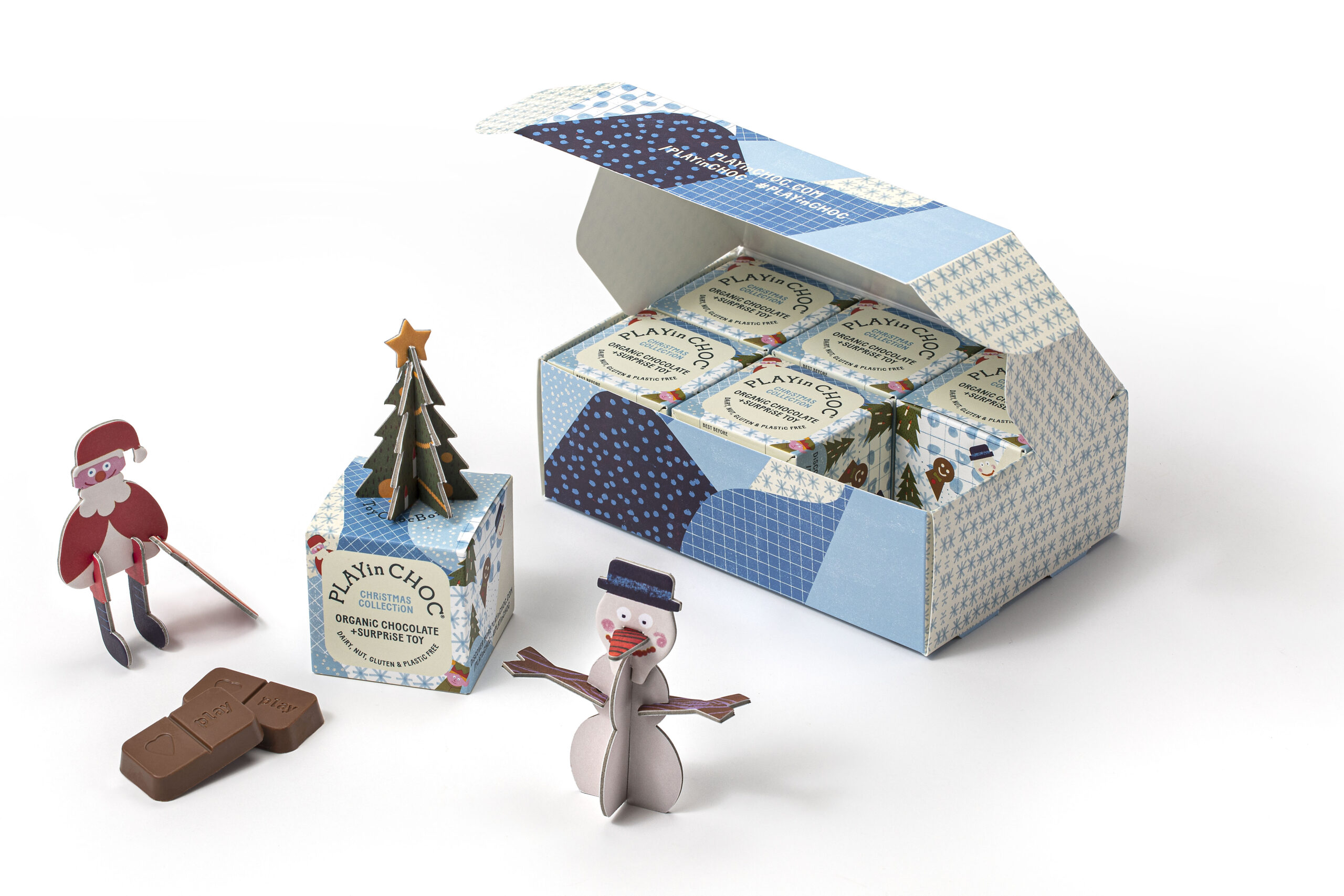 PLAY in CHOC Christmas Gift Set - 6 x Organic Chocolate Box with 3D puzzle and fun facts card! £17.50
