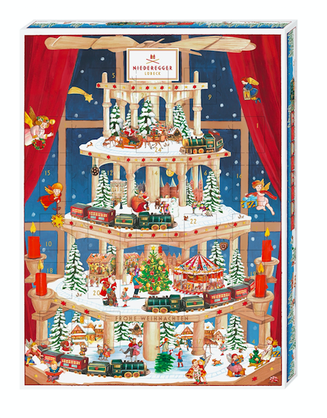 The Niederegger Carousel Advent Calendar contains 36 mouthwateringly deliciously different marzipan and chocolate treats is perfect
