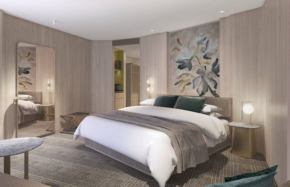 Rooms at Pan Pacific London have been designed Yabu Pushelberg, offering neutral tones and relaxing vibes - many with floor-to-ceiling windows