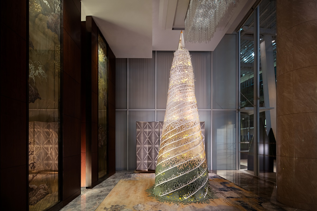 The Luxe List December 2020: Shangri-La Hotel at The Shard's gorgeous paper Christmas tree was designed by Makerversity at Somerset House and Tom Stables and Rebecca Lucraft of Stables & Lucraft