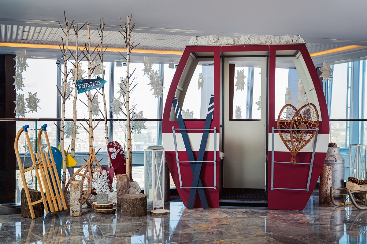 You can expect an alpine-inspired ski lodge reception area, ski gondola (pictured), winter chalets and even a gingerbread village at Shangri-La Hotel at The Shard this year