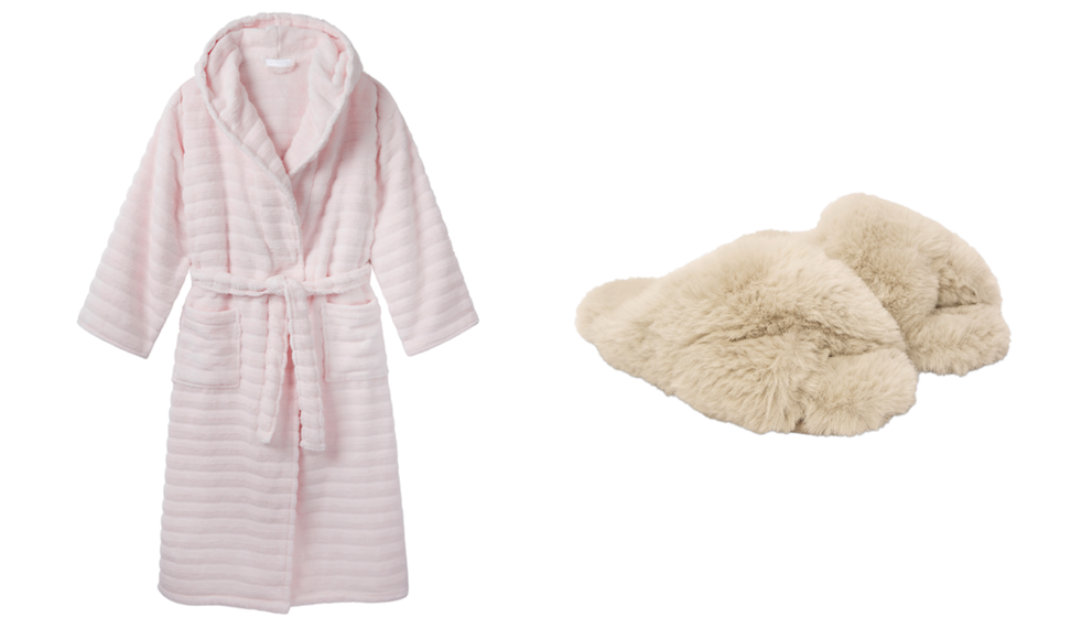 Gifts to Buy a Friend Who's Going Through Cancer Treatment - Dressing Gown and Faux Fur Slider Slippers from The White Company