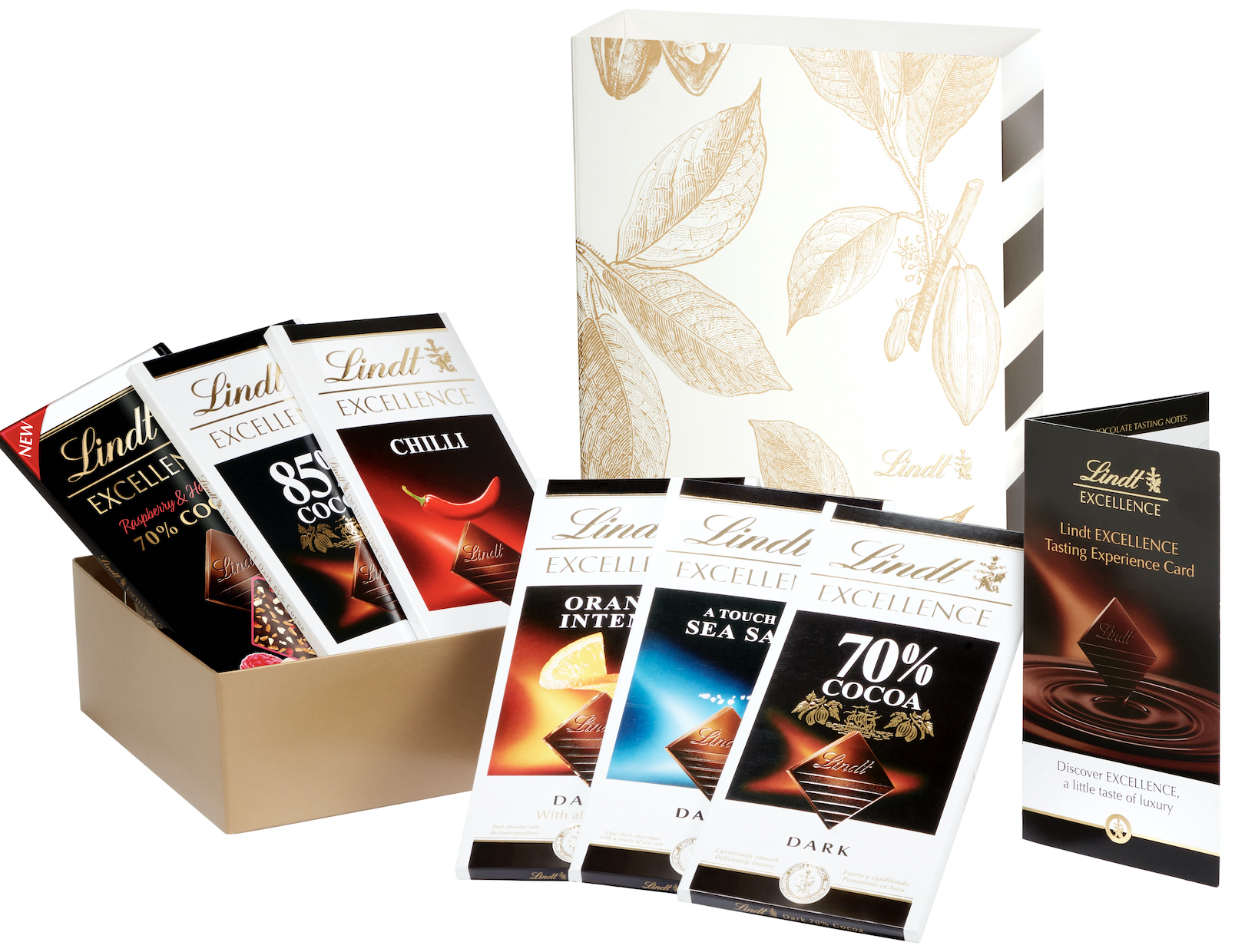 The LINDT EXCELLENCE Virtual Tasting Experience includes a chocolate box containing six bars of LINDT