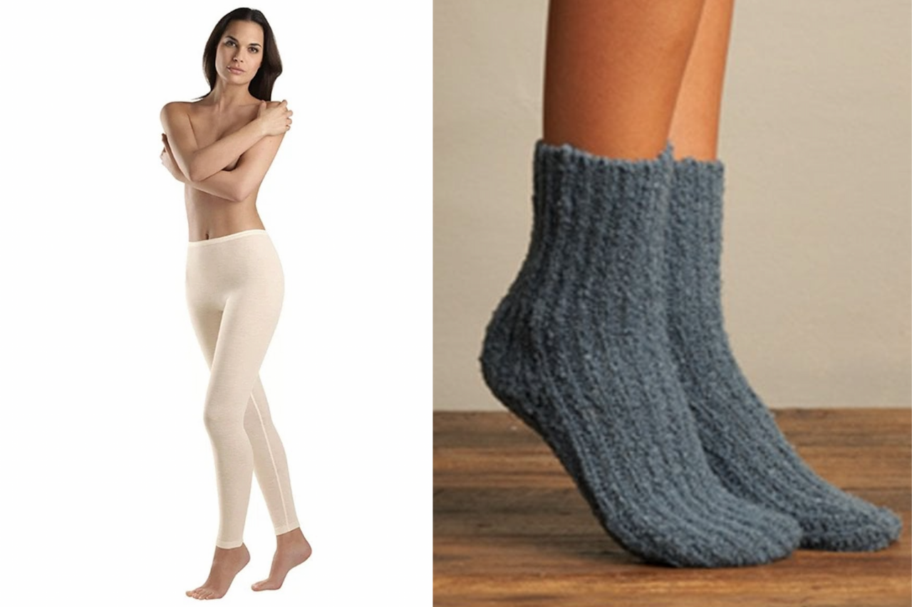 Cosy and comfortable lounge wear from Luxury Legs. We love the Hanro wool and silk leggings and the soft, luxurious Lemon rib socks