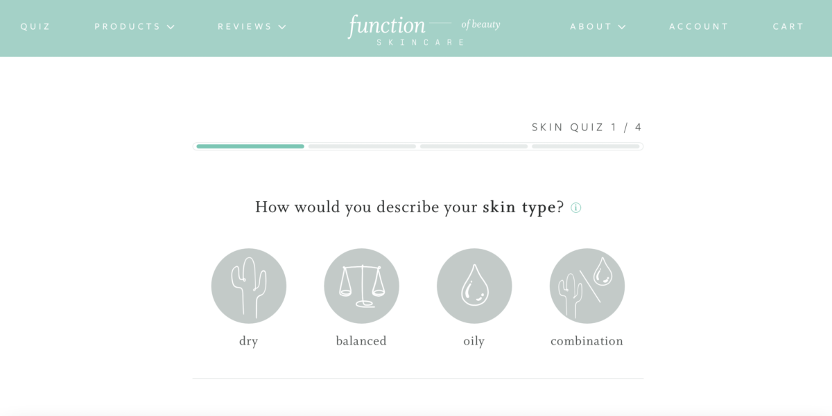 Take the quiz online on the Function of Beauty website - it's super easy and takes a few minutes