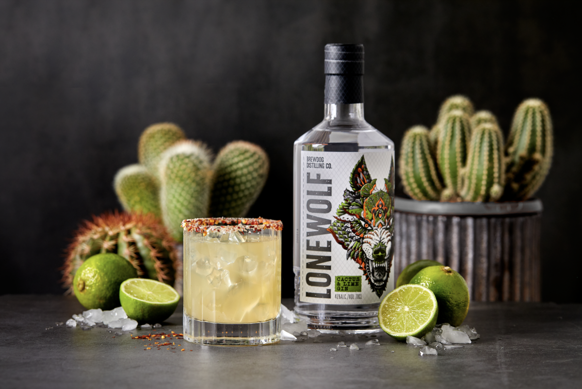Spiky Gin Margarita made with LoneWolf Cactus & Lime!