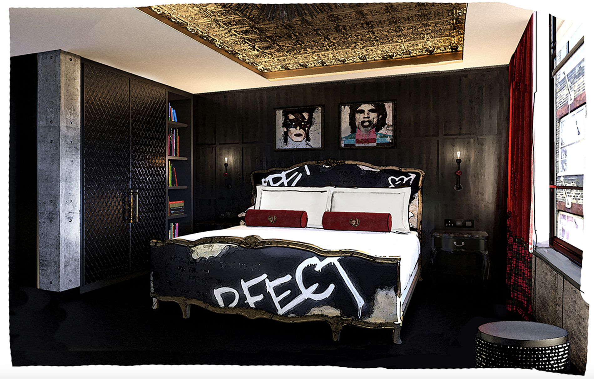This is one hot London hotel opening!  The 'Punk Room at Chateau Denmark on Denmark Street - a modern interpretation of the raw, anti-establishment movement