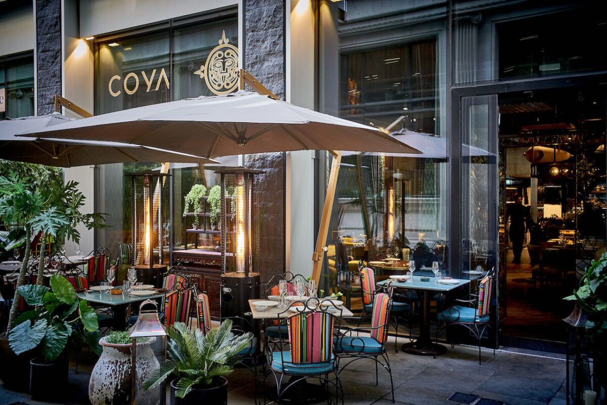Get dressed up and book a table at COYA Angel Court's gorgeous outdoor seating area (David Griffen Photography)