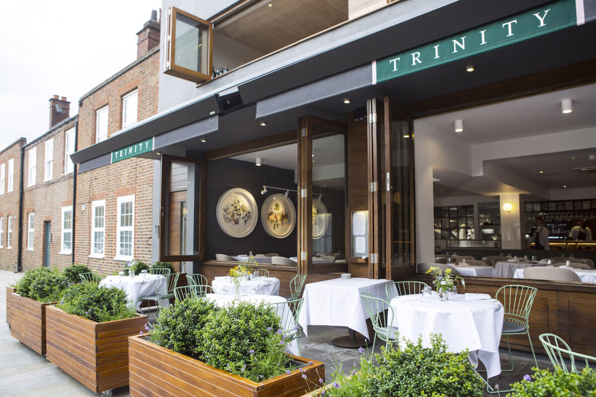 Trinity in Clapham Old Town has a big new outdoor space called Outside - perfect for Ruinart Champagne quaffing
