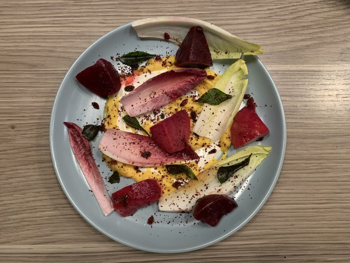 You too can make a beetroot salad restaurant stylee.  You just need the right ingredients and very steady hands!