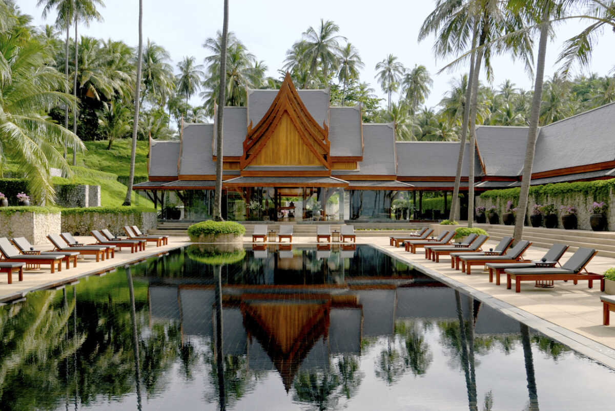 The swimming pool at the five star Amanpuri in Phuket, Thailand - open to tourists this summer