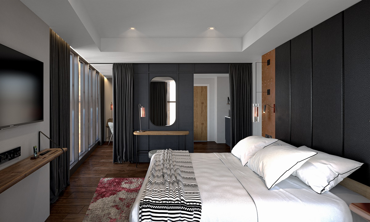 The Gantry Suite Bedroom with 291 rooms over 17 floors