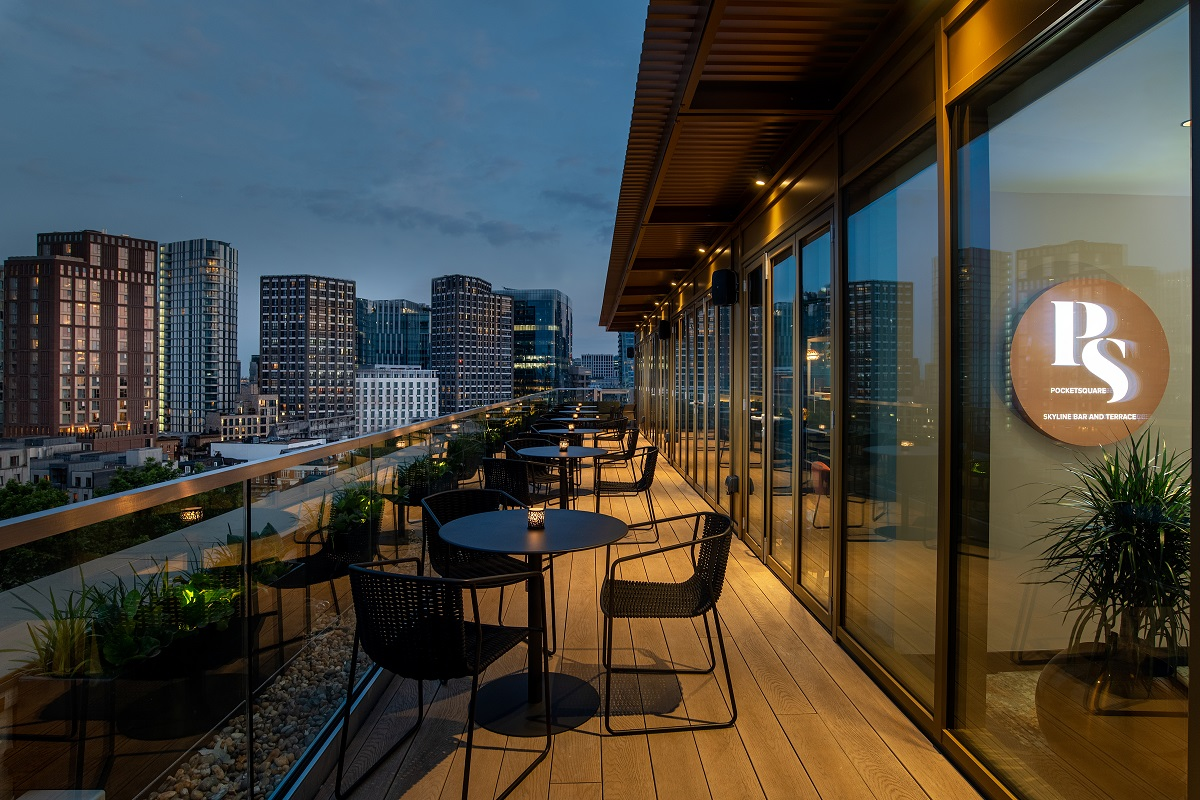 Another of Luxe Bible's Hottest New Luxury London Hotel Openings for 2021 is Hyatt Place London City East with Pocket Square's stunning roof terrace for awesome views of the city