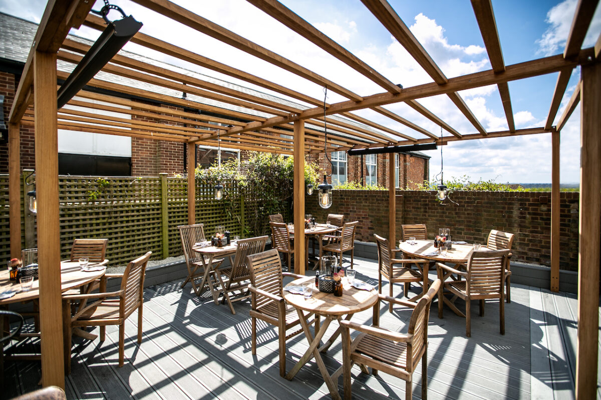 The new heated terrace at Sussex Pass in Wadhurst Village is the perfect place for brunch and an escape from London