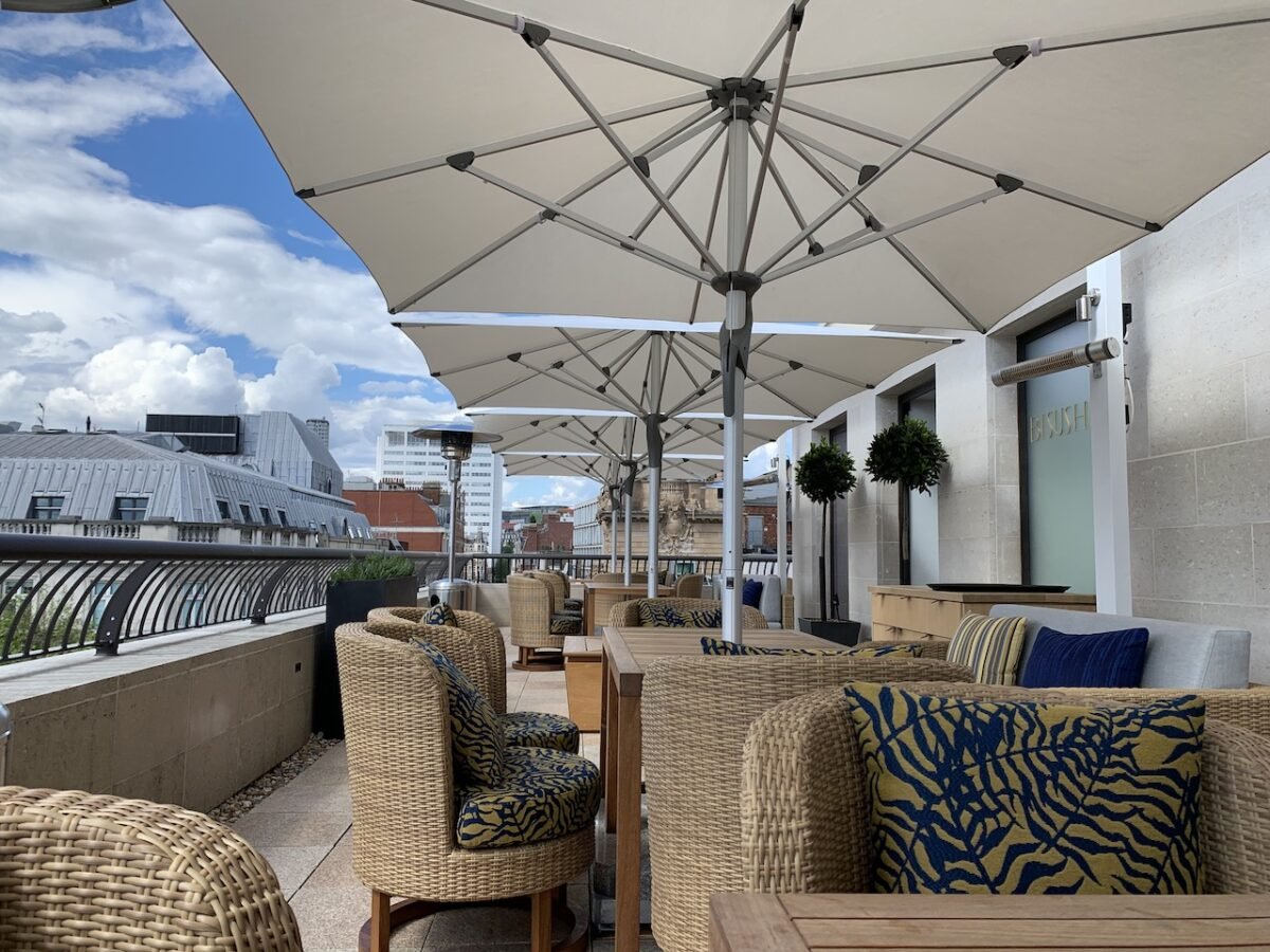 The roof terrace at Bisushima benefits from awesome views and has heaters and umbrellas in case the weather turns!