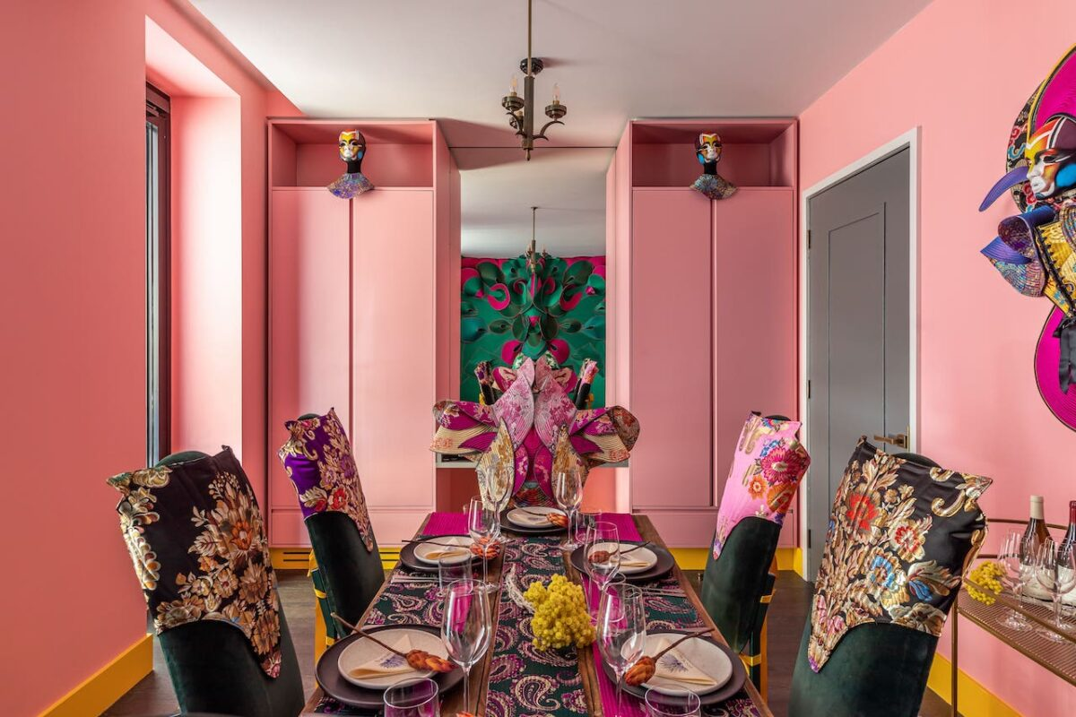 Carnivorous Lady by IT SPAIN at The Mandrake Hotel - a wild and beautiful space which is an ode to the brutality of nature and the feminine, using a juxtapose of silks and sharp lines