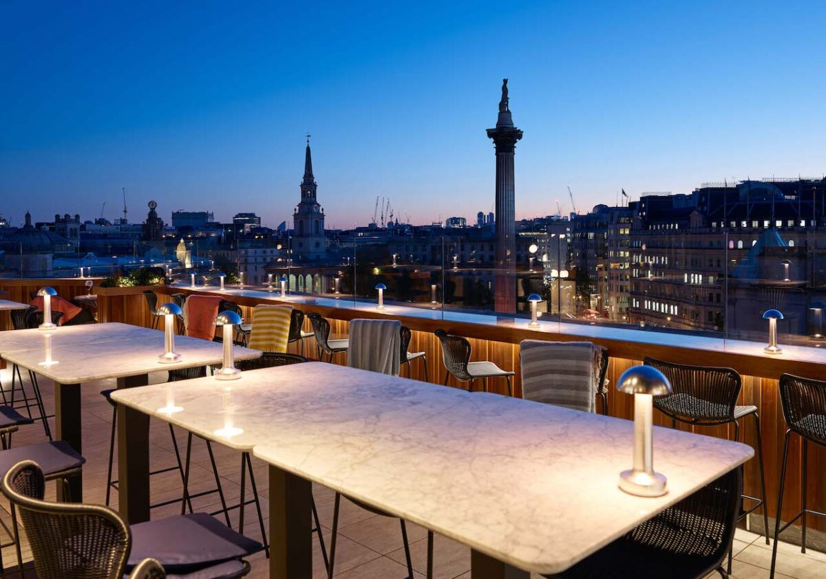 Views from The Rooftop at The Trafalgar St. Jams Hotel are amazing