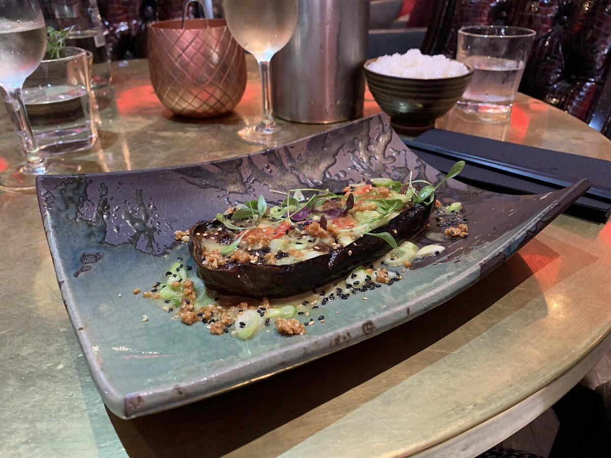 We're all over this miso glazed aubergine with spring onions and chilli macadamia at Karma Sanctum Soho