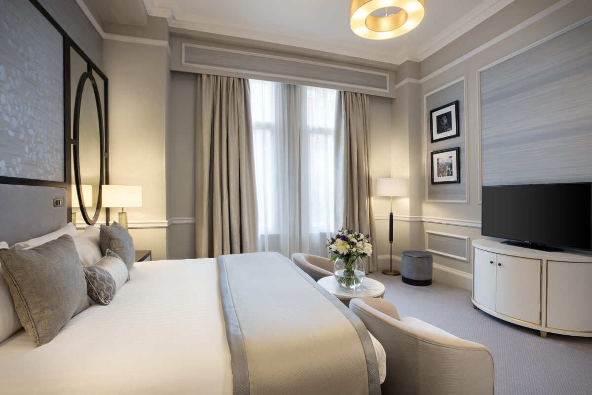 Neutral shades accentuate the luxury finishes of The Midland Hotel's newly refurbished, luxury rooms