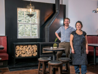 Black Bull, Sedbergh - James Ratcliffe and Nina Matsunaga in the bar area