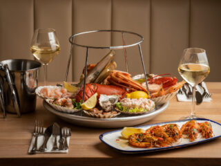 The Seafood Bar's 'Fruits de Mer' on ice including lobster, North Sea crab, razor clams, langoustines, Dutch shrimps and sustainably-bred oysters matured in the 'claires' in France